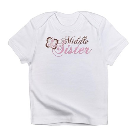 Pink Butterfly Middle Sister Infant T-Shirt