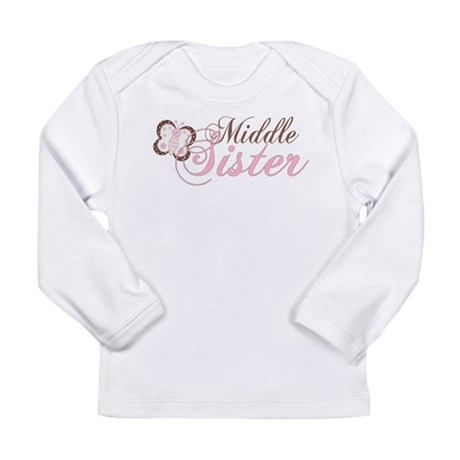 Pink Butterfly Middle Sister Long Sleeve Infant T-