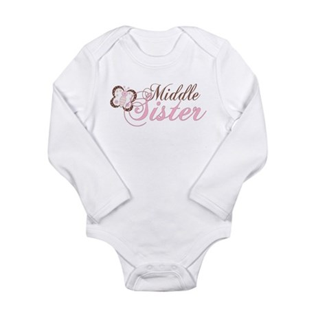 Pink Butterfly Middle Sister Long Sleeve Infant Bo
