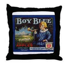 Boy Blue Apples Throw Pillow