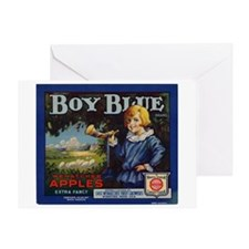 Boy Blue Apples Greeting Card