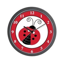 Red Lullabye Ladybug Wall Clock