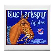 Blue Larkspur Apples Tile Coaster