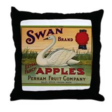 Swan Apples Throw Pillow
