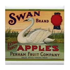 Swan Apples Tile Coaster