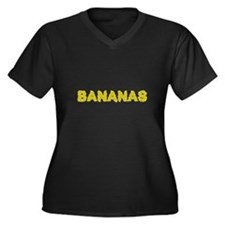 Bananas Women's Plus Size V-Neck Dark T-Shirt