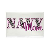 Navy Zebra Mom Rectangle Magnet