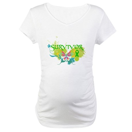 Butterfly Bile Duct Cancer Maternity T-Shirt