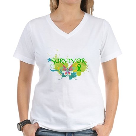 Butterfly Bile Duct Cancer Women's V-Neck T-Shirt