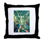 African Antelope Green Throw Pillow