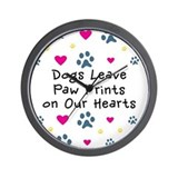 Dogs Leave Paw Prints Wall Clock