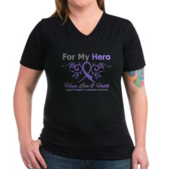 Hero Hodgkin's Disease Women's V-Neck Dark T-Shirt