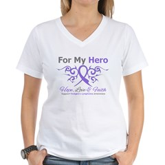 Hero Hodgkin's Disease Women's V-Neck T-Shirt