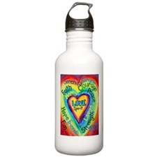 Rainbow Heart Spirit Words Water Bottle