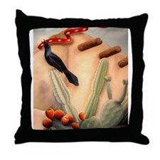Crow and Ribbon Throw Pillow