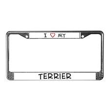 I Love Terrier License Plate Frame