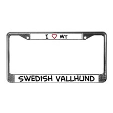 I Love Swedish Vallhund License Plate Frame