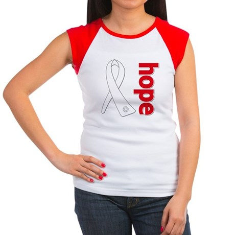 Hope Ribbon Lung Cancer Women's Cap Sleeve T-Shirt