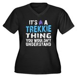 Trekkie Thing Blue Women's Plus Size V-Neck Dark T