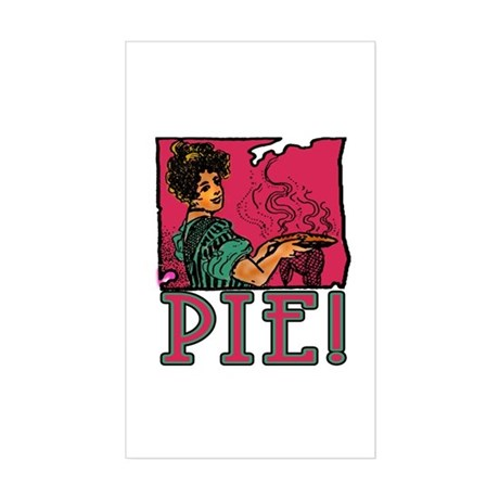 Pie with Vintage Art Sticker (Rectangle)