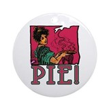 Pie with Vintage Art Ornament (Round)