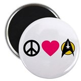 "Peace love star trek 2.25"" Round Magnet"