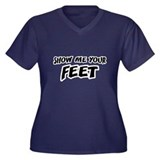Show Me Your Feet Women's Plus Size V-Neck Dark T-