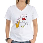 Cocky Sax Player Women's V-Neck T-Shirt
