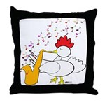 Cocky Sax Player Throw Pillow