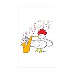 Cocky Sax Player Sticker (Rectangle 50 pk)