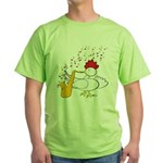 Cocky Sax Player Green T-Shirt