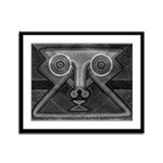 Joyful Mask B&W Framed Panel Print