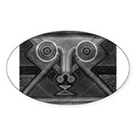 Joyful Mask B&W Sticker (Oval)