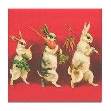 Vintage Rabbits Tile Coaster