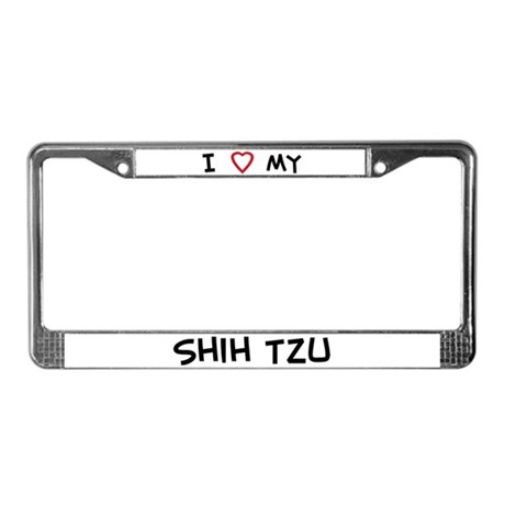 I Love Shih Tzu License Plate Frame