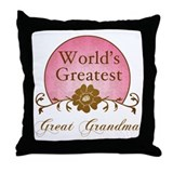 Stylish World's Greatest Great Grandma Throw Pillo