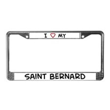 Love Saint Bernard License Plate Frame
