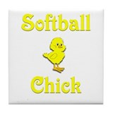 Softball Chick Tile Coaster
