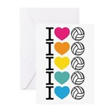 I Heart Volleyball Greeting Cards (Pk of 10)