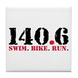 140.6 Swim Bike Run Tile Coaster
