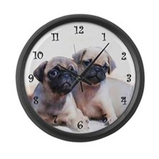 Pug puppies Large Wall Clock