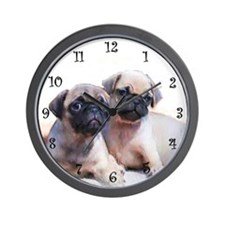 Pug puppies Wall Clock