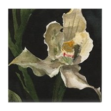 White Orchid Tile Coaster