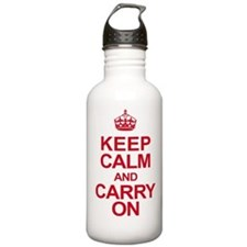 Keep Calm & Carry On in Red Water Bottle
