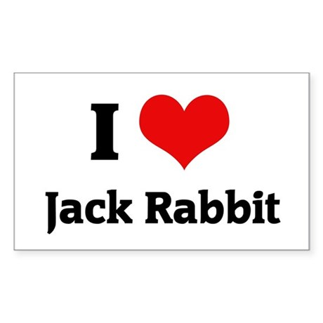 I Love Jack Rabbit Rectangle Sticker