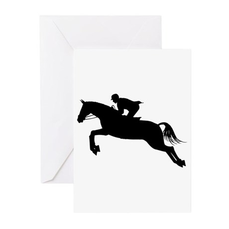 Horse Jumping Silhouette Greeting Cards (Pk of 10)