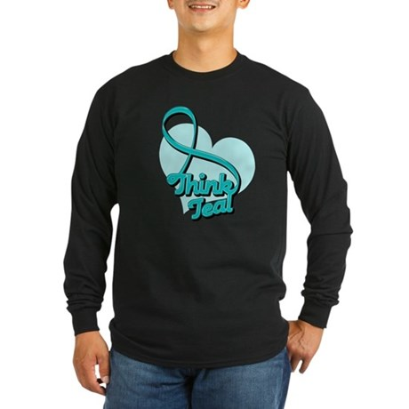 Ovarian Cancer Think Teal Long Sleeve Dark T-Shirt
