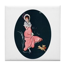 Girl With Pup Tile Coaster