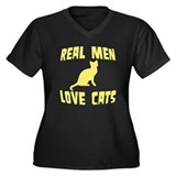 Real Men Love Cats Women's Plus Size V-Neck Dark T