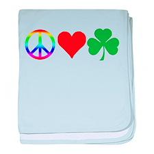 Peace Love Shamrock Irish baby blanket